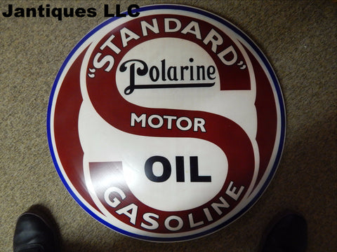 "Tin Advertising Button Sign ""Standard Polarine"""