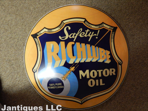 "Tin Advertising Button Sign ""Richlube"""
