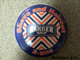 "Tin Advertising Button Sign ""Barber Shop"""