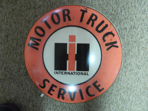 "Tin Advertising Button Sign ""International Motor Truck Service"""