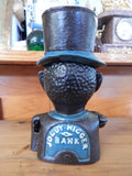Cast Iron Mechanical Bank - Blue Suit Black Americana Man with Top Hat