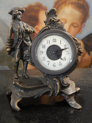 Clock Bronze Table Top/Mantle with Colonial Figure