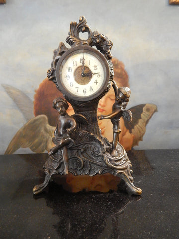 Bronze Clock - Table Top Clock Cherub