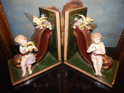 Porcelain Bookends - Pair Dresden Sitting Cherub