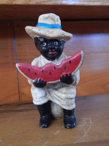 Americana Cast Iron Bank - Americana Boy Eating Watermelon