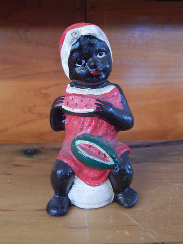 Cast Iron Bank - Americana Girl Eating Watermelon On Pot