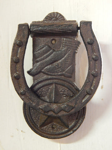 Door Knocker - Cast Iron Western Boot, Hat and Lone Star