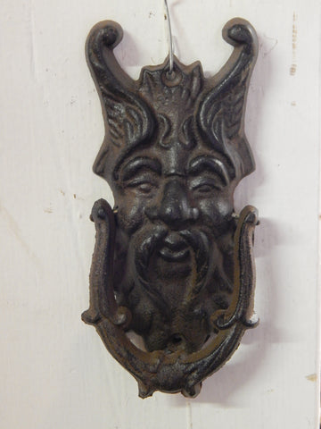 Cast Iron Door Knocker - Gothic Face Gargoyle Griffin