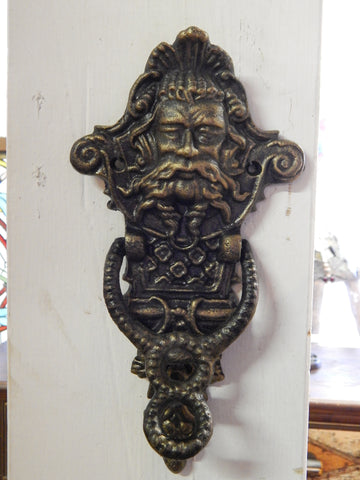 Neptune Poseidon Man God Door Knocker Cast Iron Antique Style Greenish Finish