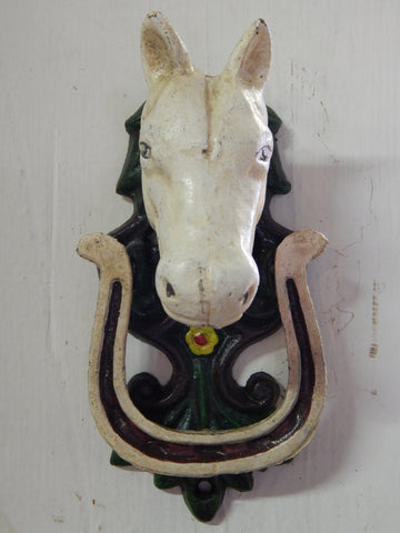 Door Knocker -Cast Ion Horse Head With Lucky Horse Shoe