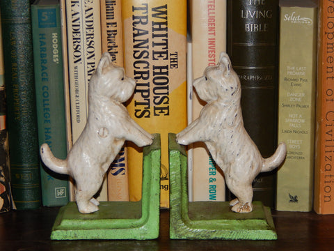 Cast Iron Bookends - Pair White Vintage Scottish Terrier