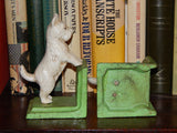 Bookends -Cast Iron  Pair White Vintage Scottish Terrier