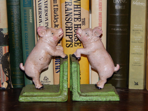 Bookends -Cast Iron Pair Vintage Style Pink Pig