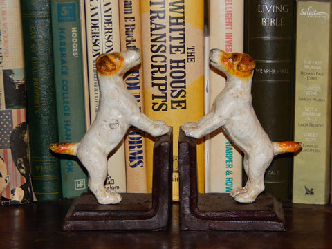 Bookends -Cast Iron Pair White Vintage Jack Russell Terrier