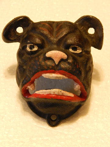 Cast Iron Bottle Opener - Bulldog Wall Mount