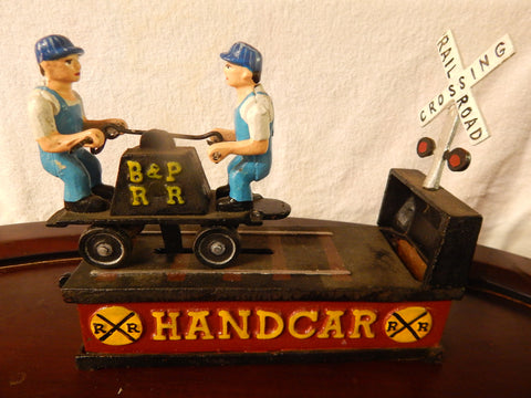Coin Bank Handcar Railroad Crossing Coin Bank