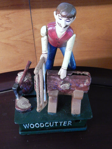 Bank Wood Cutter Mechanical Coin Bank