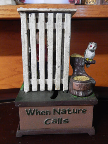 Cast Iron Mechanical Bank - Outhouse When Nature Calls