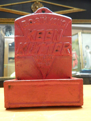 "Cast Iron Match Box Holder - ""Keen Kutter Cutlery & Tools"" E.C Simmons"