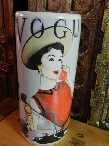 Umbrella Stand Porcelain - French Paris Vogue Advertising