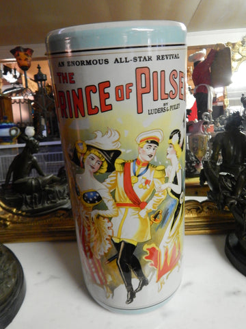 Umbrella Stand Porcelain - French Prince of Pilsen Theatre Advertising