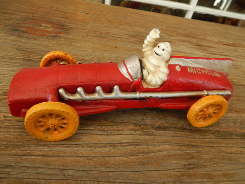 Cast Iron Figurine - Michelin Tire Advertising Red Race Car Toy