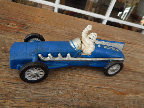 Cast Iron Figurine - Michelin Tire Advertising Blue Race Car Toy
