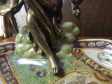 Dish French Sevres Porcelain w/ Gilt Bronze Ormolu Lady Sitting - Green