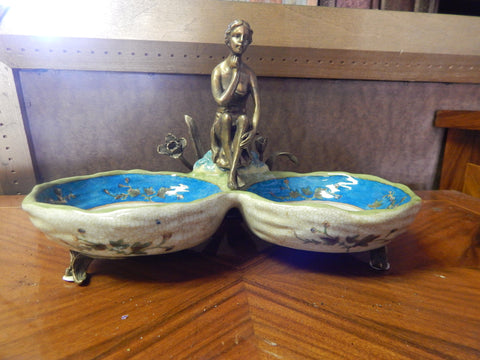 Sevres Porcelain - Blue Bowls French w/ Gilt Bronze Ormolu Lady