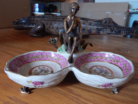 Bowls French Sevres Porcelain w/ Gilt Bronze Ormolu Lady - Pink