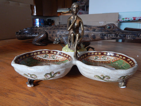 Bowls French Sevres Porcelain w/ Gilt Bronze Ormolu Lady - Green