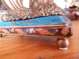 Sevres Porcelain-Blue Cornucopia Vase French w/Gilt Bronze Ormolu God/Neptune