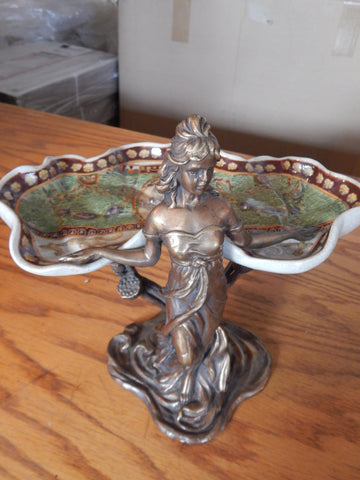 Sevres Porcelain -Green Dish French w/ Gilt Bronze Ormolu Lady Standing