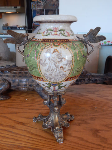 Sevres Porcelain - Green Vase French w/ Gilt Bronze Ormolu Dragonfly Handles