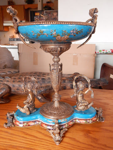 Bowl French Sevres Porcelain w/ Gilt Bronze Ormolu Cherub on Snail - Blue
