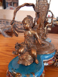 Sevres Porcelain - Blue Bowl French w/ Gilt Bronze Ormolu Cherub on Snail