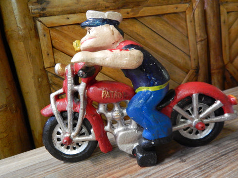 Cast Iron Figurine - Popeye Motorcycle Patrol