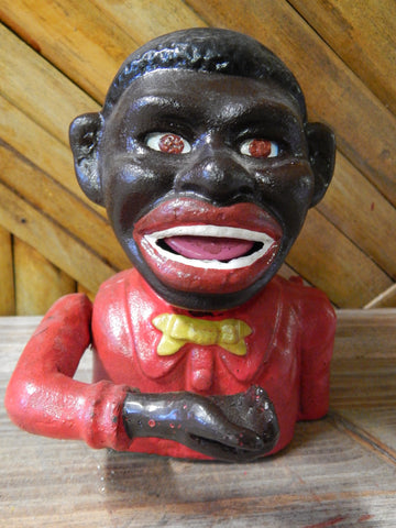 Black Americana Mechanical Boy Bank Red Suit