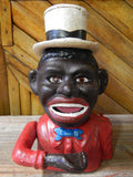 Cast Iron Mechanical Bank -  Red Suit Black  Americana Man with Top Hat