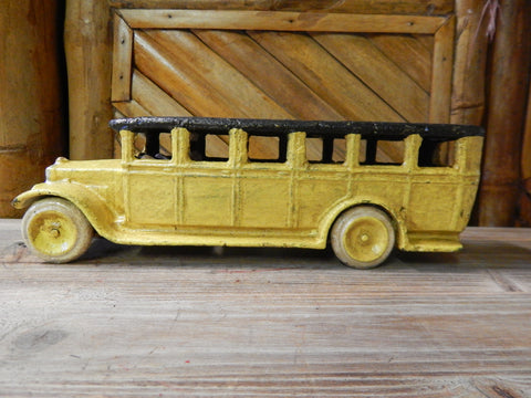Cast Iron Figurine - Yellow OMNI Bus