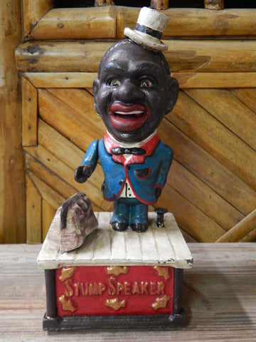 Black Americana Stump Speaker Cast Iron Mechanical Bank