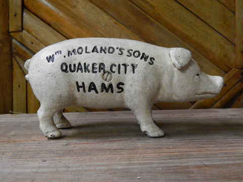 "Pig  Bank -Cast Iron  ""Wm Moland's Sons Quaker City Hams"" Blue Advertising"