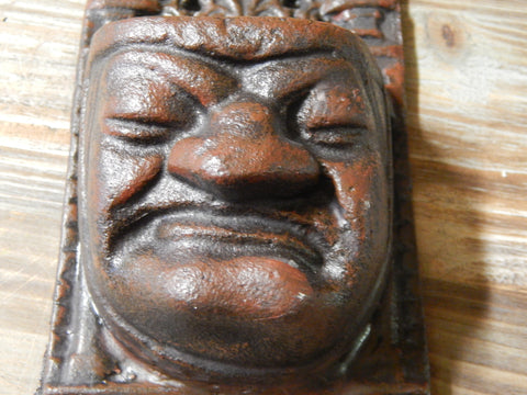 Cast Iron Wall Pocket - Gothic Grouchy Face