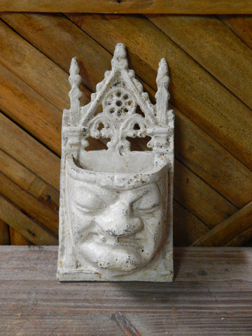 Cast Iron Wall Pocket - Gothic Grouchy White Face