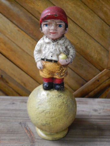 Baseball Cast Iron Bank - Baseball Mascot Still Bank Hubley