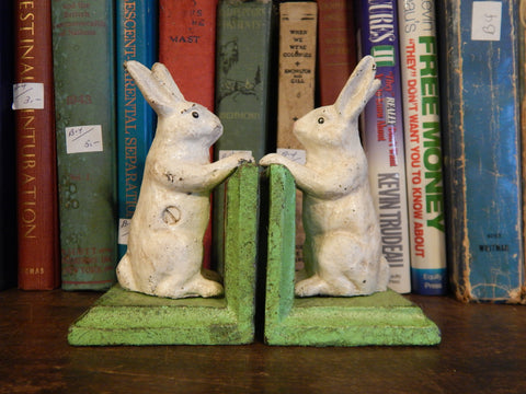 Rabbit Bookends Antique White Pair Cast Iron Book Ends