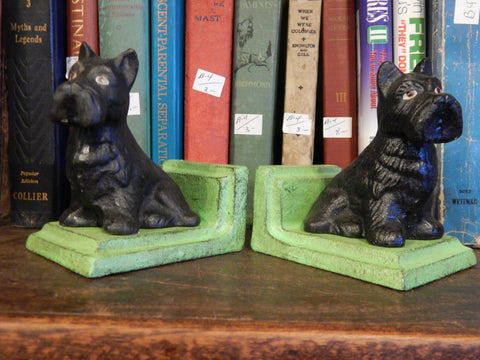 Book Ends - Cast Iron Pair Black Scottish Terrier