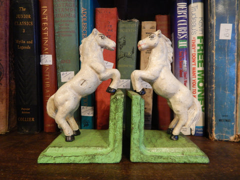 Cast Iron Bookends - Pair White Vintage Horse