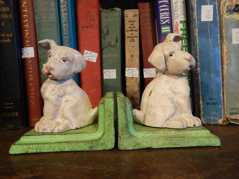 Bookends -Cast Iron Pair Vintage Dogs