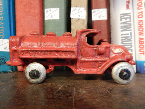 Cast Iron Truck- Hubley Oil Tank Truck Toy Red